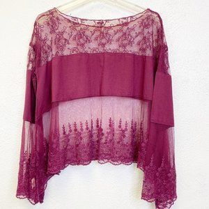 Free People Lace Long Sleeve Top Size M